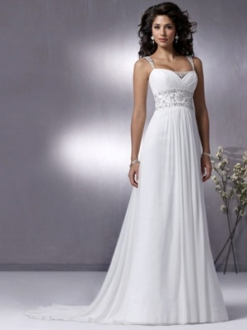 Empire Spaghetti Straps Court Trains Sleeveless Chiffon Wedding Dresses For Brides