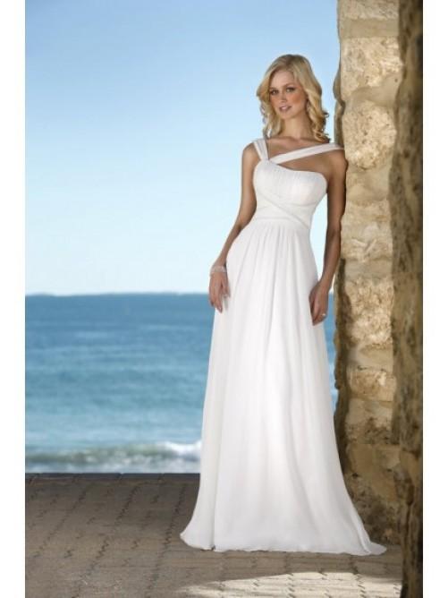 Hot Selling Sheath/Column V-Neck Chiffon Wedding Dress