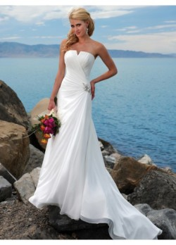 Modern White Chapel Train Beading Sheath/Column Bridal Wedding Dress
