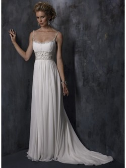 Nice Sheath/Column Spaghetti Straps Chiffon Wedding Dress