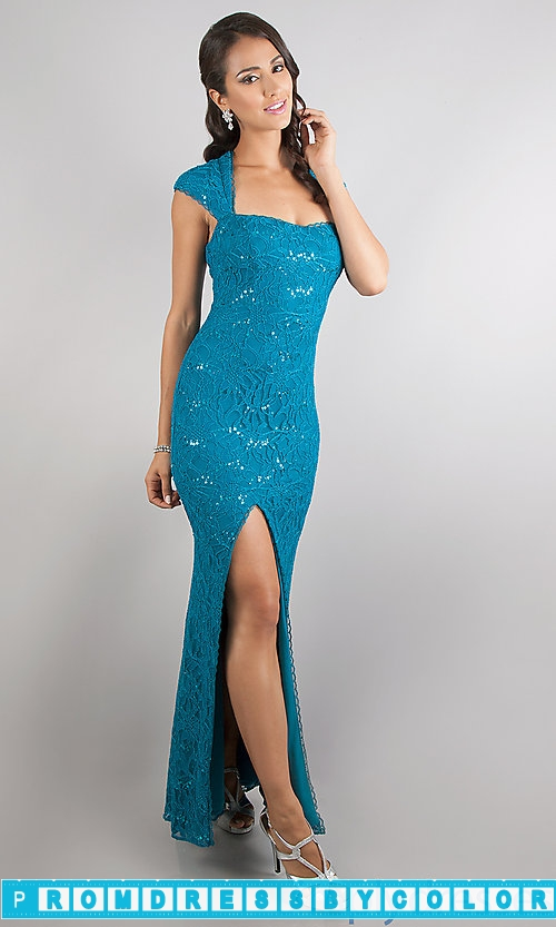 182 Black Prom Dresses – Floor Length Cap Sleeve Lace Dress at www.promdressbycolor.com