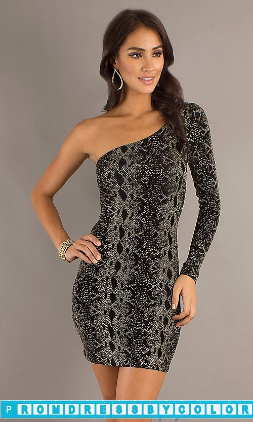 194 Black Prom Dresses – Jump Short Single Long Sleeve Sequin Dress at www.promdressbycolor.com