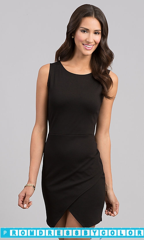 149 Black Prom Dresses – Short Sleeveless Black Dress at www.promdressbycolor.com