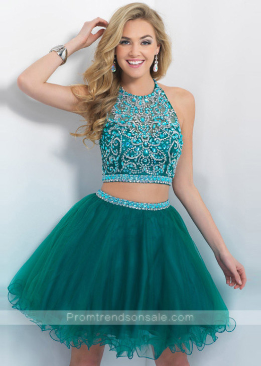 Halter Neck Two Piece Beaded Tulle Layered Evergreen Cocktail Dress [Blush 10079 Evergreen] – $256.00 : Hot Trends Homecoming Dresses,Prom Dress,Wedding Dress,Bridesmaid Dresses,Prom Shoes For Prom & Homecoming 2015 On Sale