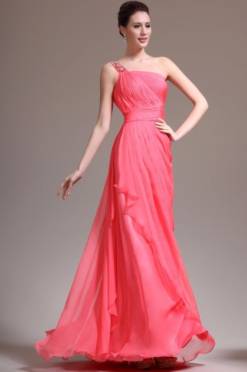158 Red Prom Dresses – Draped One Shoulder Sweep Train A Line Chiffon Red Evening Dress at www.promdressbycolor.com