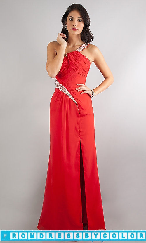 149 Red Prom Dresses – Floor Length One Shoulder Dress at www.promdressbycolor.com