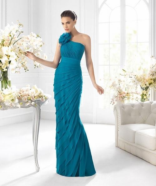176 Red Prom Dresses – One Shoulder Floor Length Sheath Column Chiffon Blue Evening Dress at www.promdressbycolor.com