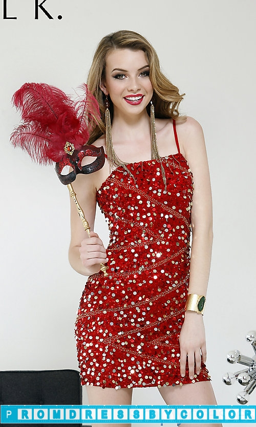 148 Red Prom Dresses – Short Spaghetti Strap Sequin Dress at www.promdressbycolor.com