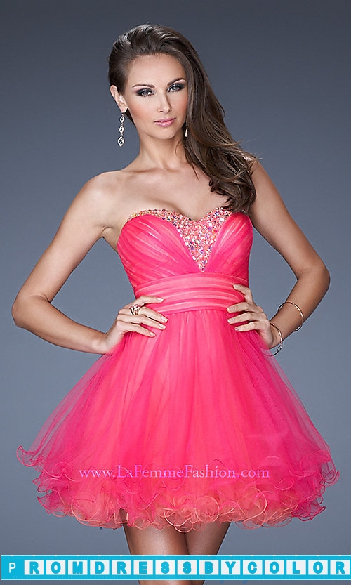 173 Red Prom Dresses – Short Tulle Babydoll Dress by La Femme at www.promdressbycolor.com