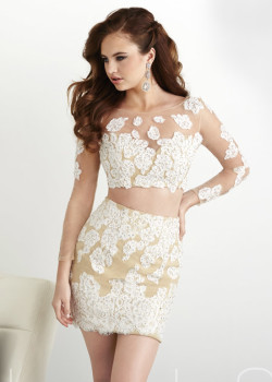 Scoop Neck Long Sleeves Applique Lace Two Piece Ivory Nude Formal Dress [Hannah S 27024 Ivory Nude] – $195.00 : Short Homecoming Dresses For Party From www.homecoming2016.com