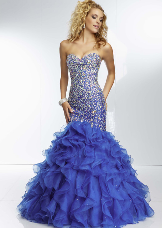 Strapless Royal Beaded Corset Back Ruffled Mermaid Prom Dress [Mori Lee 95076 Royal] – $228.00 : The Last Fashion Prom Dresses 2015 Online For Trends