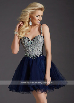 Sweet Thin Beaded Straps Navy A Line Corset Back Homecoming Dress [Clarisse 2667 Navy] – $188.00 : Short Homecoming Dresses For Party From www.homecoming2016.com