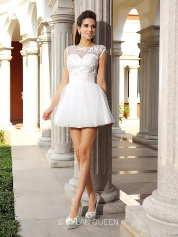A-Line/Princess Scoop Satin Beading Sleeveless Short/Mini Dresses