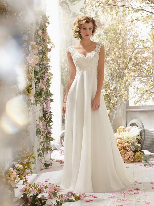 A-Line/Princess Sleeveless V-neck Chiffon Sweep/Brush Train Wedding Dresses – Wedding Dresses