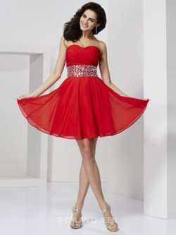 A-line/Princess Sweetheart Rhinestone Sleeveless Short/Mini Chiffon Dress