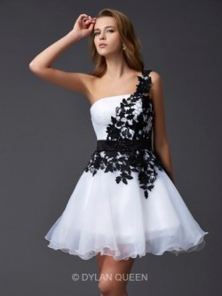 Amazing A-Line/Princess One-Shoulder Sleeveless Short/Mini Organza Dresses