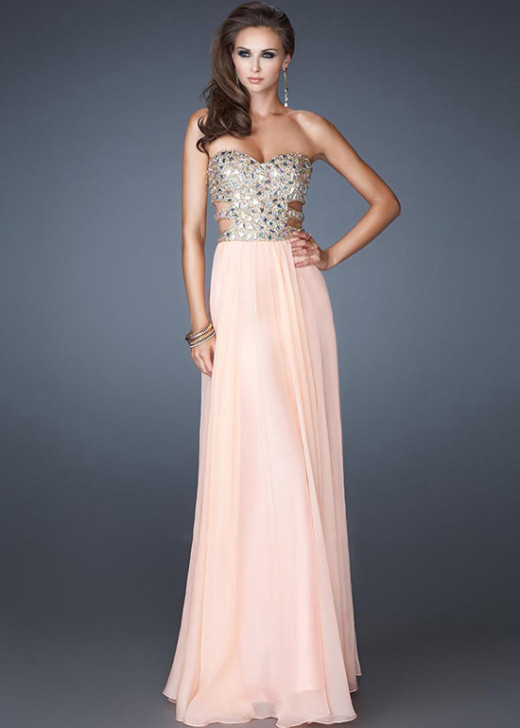 Apricot Cut Outs Side Chiffon Beaded Sweetheart Long Prom Dress [La Femme 18602 Apricot] – $188.00 : Hot Trends Prom Dresses 2015 On Store For Girls