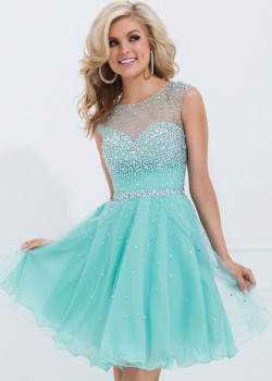Aqua Cap Sleeve Beaded Mesh Neck Open Back Short Cocktail Dress [Tony Bowls TS11477 Aqua] – $180.00 : Short Homecoming Dresses For Party From www.homecoming2016.com