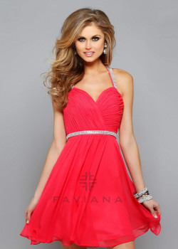 2015 Beautiful Ruched Beaded Straps Guava Chiffon Homecoming Dress [Faviana 7663 Guava] – $162.00 : Short Homecoming Dresses For Party From www.homecoming2016.com