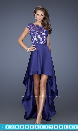 183 Black Prom Dresses – Lace Cap Sleeve High Low Dress by La Femme at www.promdressbycolor.com