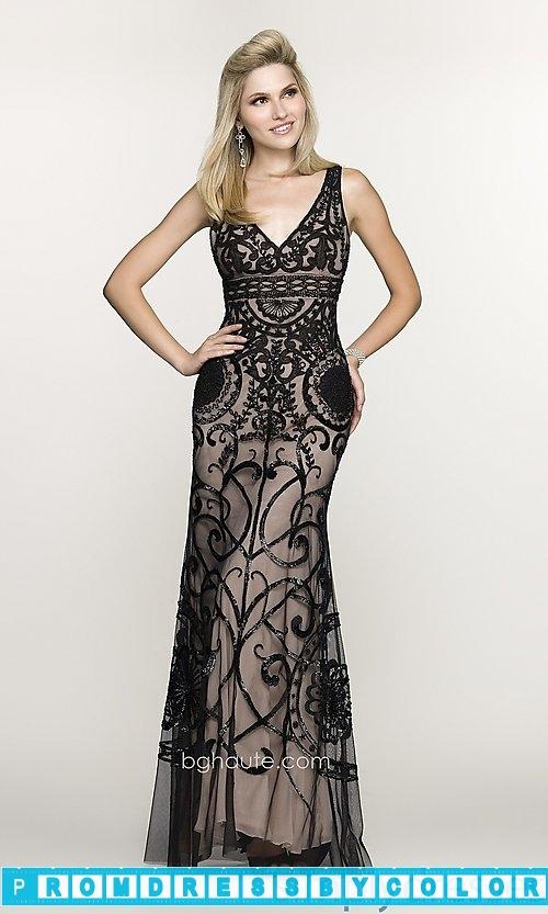260 Black Prom Dresses – Long Embroidered V-Neck Gown at www.promdressbycolor.com
