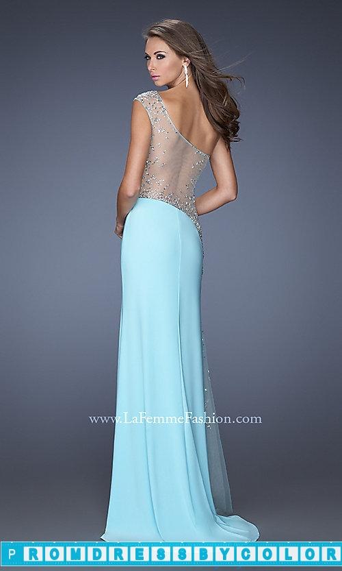 203 Black Prom Dresses – Long Sheer One Shoulder La Femme Dress at www.promdressbycolor.com
