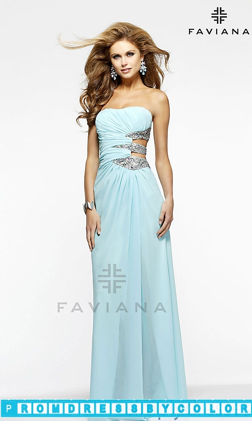 143 Black Prom Dresses – Long Strapless Dress with Side Cut Outs by Faviana 7304 at www.promdressbycolor.com