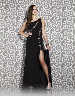 174 Black Prom Dresses – One Shoulder Chiffon Sheath Column Floor Length Black Evening/Prom Dress at www.promdressbycolor.com