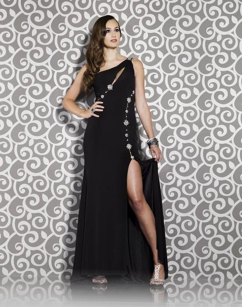 174 Black Prom Dresses – One Shoulder Chiffon Sheath Column Floor Length Black Evening/Prom Dress at www.promdressbycolor.com