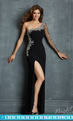 182 Black Prom Dresses – One Shoulder Dress with Sheer Sleeve at www.promdressbycolor.com