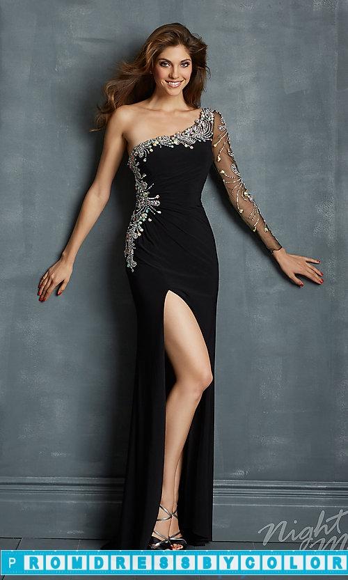 182 Black Prom Dresses – One Shoulder Dress with Sheer Sleeve at www.promdressbycolor.com