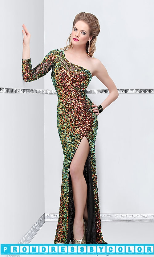 374 Black Prom Dresses – One Shoulder Sequin Covered Long Dress at www.promdressbycolor.com