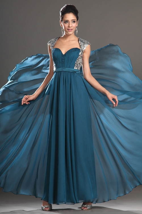 142 Black Prom Dresses – Pleating Sweetheart Floor Length Chiffon Princess Blue Evening Dress at www.promdressbycolor.com