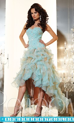 203 Black Prom Dresses – Ruffled Strapless Sweetheart High Low Dress at www.promdressbycolor.com