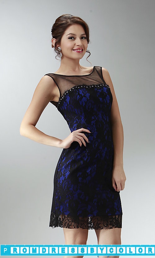 149 Black Prom Dresses – Short Lacey Party Dress at www.promdressbycolor.com
