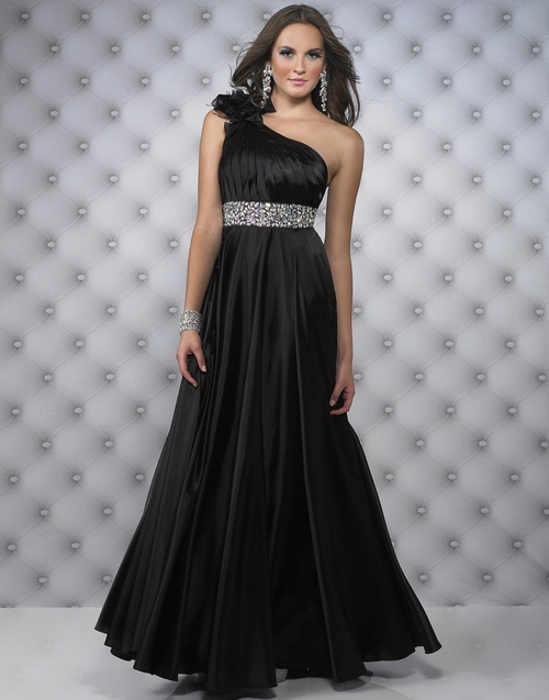 159 Black Prom Dresses – Sleeveless One Shoulder A Line Floor Length Black Evening Dress at www.promdressbycolor.com