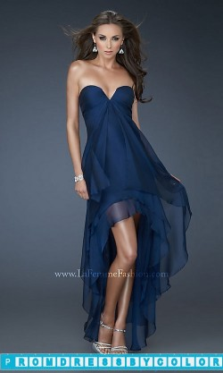144 Black Prom Dresses – Strapless Layered High-Low Dress by La Femme at www.promdressbycolor.com
