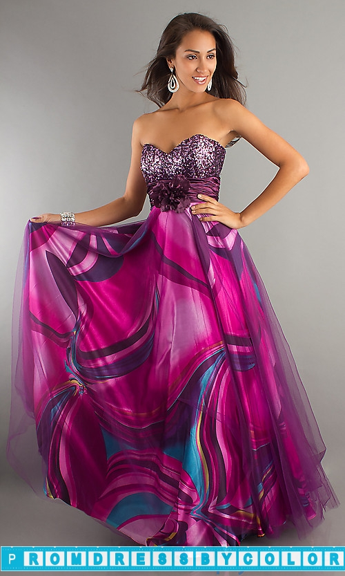 203 Black Prom Dresses – Strapless Print Prom Dress at www.promdressbycolor.com