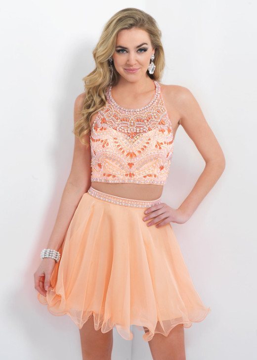 Cantaloupe Flirty Two Piece Halter Beaded Short Prom Dress 2015 [Blush Prom 10081 Cantaloupe] – $199.00 : Prom Dress 2015 Online,Under 200 Dresses For Homecoming