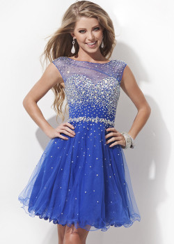 Cheap Blue Cutout Open Back Beaded Cap Sleeve Prom Dress 2015 [Tony Bowls TS11477 Blue] – $180.00 : Short Homecoming Dresses For Party From www.homecoming2016.com