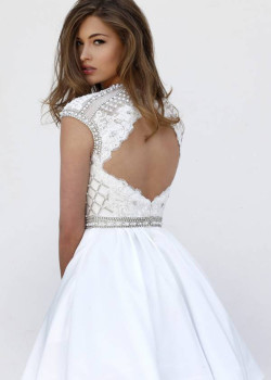 Cheap Ivory Lace Embroidered Beaded Open Back Homecoming Dress 2015 [Sherri Hill 32317 Ivory] – $205.00 : Short Homecoming Dresses For Party From www.homecoming2016.com