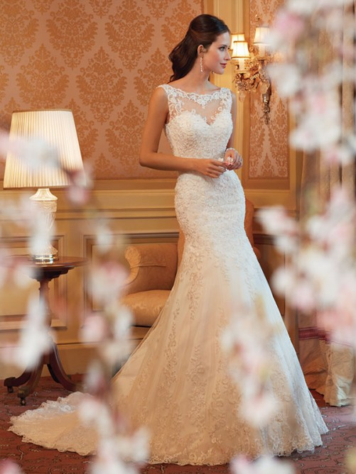 Trumpet/Mermaid Scoop Lace Applique Chapel Train Wedding Dress