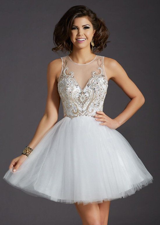 Cute Gold Beaded Bodice Keyhole Back White Tulle A Line Homecoming ...