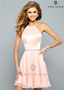 Elegant Satin Peach Halter Neck Crisscross Back Graduation Dress [Faviana 7652 Soft Peach] – $150.00 : Short Homecoming Dresses For Party From www.homecoming2016.com