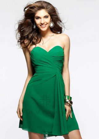 Faviana 7075 Cheap Green Pleated Flirty Short Prom Dress [new-dress-0961] – $168.00 : Cute New Arrival Style Homecoming Prom Dresses Online For 2015 Party