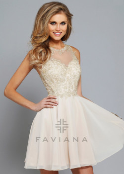 Fitted Flare Embroidered Lace Bodice Nude Sheer Back Homecoming Dress [Faviana S7668 Nude] – $175.00 : Short Homecoming Dresses For Party From www.homecoming2016.com