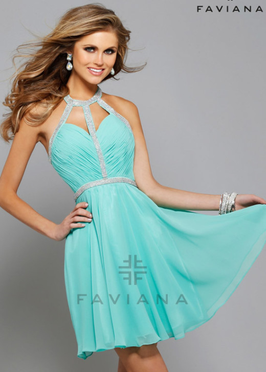 Flirty Spearmint Halter-Style Ruched Beaded Straps Open Back Cocktail Dress [Faviana 7669 Spearmint] – $168.00 : Short Homecoming Dresses For Party From www.homecoming2016.com