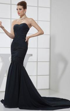 Long black mermaid prom dress