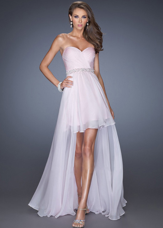 Light Pink Layer High Low Sweetheart Beaded Belt Chiffon Prom Dress [La Femme 19762 Light Pink] – $168.00 : Short Homecoming Dresses For Party From www.homecoming2016.com