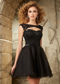New Style 2015 Beaded Lace Cap Sleeves Cut Open Back Homecoming Dress [Mori Lee 9335 Black] – $180.00 : Cheap Fall 2015 Homecoming Prom Dresses For Girl Online,Under $200